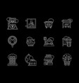 city flat line icons set vector image