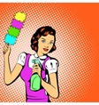 Cleaning woman concept comics style vector image