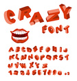 Crazy font Mad ABC Different letters curves vector image