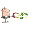 Happy Businessman Using A Magnet To Attracts Money vector image