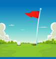 putting green - golf ball and flag vector image