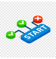 start button isometric icon vector image vector image
