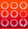 laurel wreaths set - white decorative winners vector image
