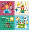 Gardening Concept 4 icons Square Banner vector image