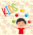 Funny boy kid playing colored balls vector image