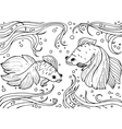 Marine life Monochrom hand drawn background vector image