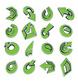 geometric abstract shapes collection of green vector image vector image