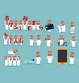 successful arab businessman cartoon character set vector image vector image