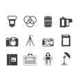 Silhouette Photography equipment icons vector image