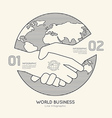Flat linear Infographic World Business Handshake vector image vector image