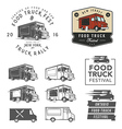 Set of food truck festival emblems badges and des vector image vector image