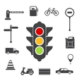 Traffic icons set vector image vector image