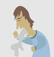 Cartoon man spitting water vector image