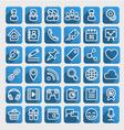 Flat Icons Social Media Blue Set vector image