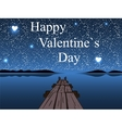 Happy Valentines day night water sky heart star vector image