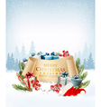 Holiday Christmas background with a gift boxes and vector image