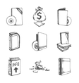 Icons set of empty books vector image
