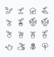 plant and sprout growing icons flat line vector image