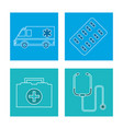 set equipment medical concept vector image