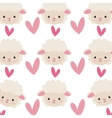 sheep cartoon and pink hearts background vector image