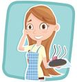 woman showing burnt cake vector image