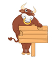 Isolated Bull with Banner vector image