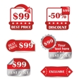 set of red labels for sale vector image vector image