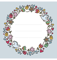 Romantic round frame with flowers hearts gifts and vector image