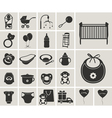 Baby black-white icons set vector image