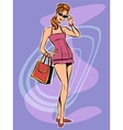 Beautiful redhead retro girl in short dress vector image