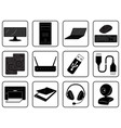 black goods icons of computer online store vector image