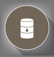 oil barrel sign white icon on brown vector image