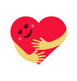 red smiling heart hug on vector image