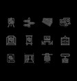 trade gallery flat line icons set vector image