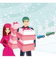 couple on Christmas shopping vector image vector image