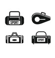 sport bag icon set simple style vector image