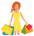 young girl with shopping bags vector image