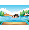 A young woman swimming in the river vector image