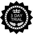 three day trial icon vector image vector image
