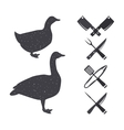 Silhouettes of a goose and a duck vector image