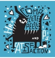 Cat humorous poster print fun design with vector image