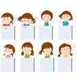Different girl characters holding blank signs vector image