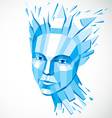 Face of a thinking woman created in low poly style vector image