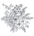floral composition bouquet with hand drawn vector image