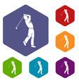 golf player icons set hexagon vector image