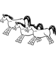 horses or mustangs coloring page vector image