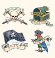 Set of engraved hand drawn old labels or badges vector image