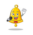 singing school bell character cartoon vector image