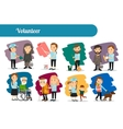 Volunteer characters big set vector image