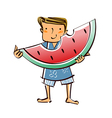 Close-up of boy holding watermelon vector image vector image